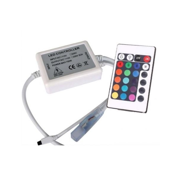 RGB kontroller med fjernbetjening - 230v - memory funktion - infrarød