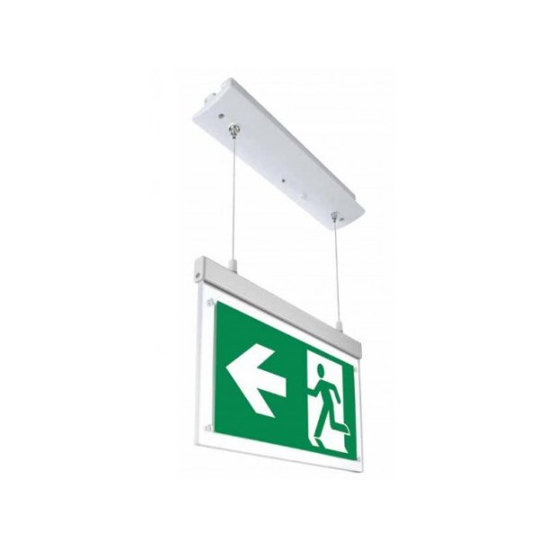 2 Watt ned hængt/indbygget LED exit skilt - 120 lumen