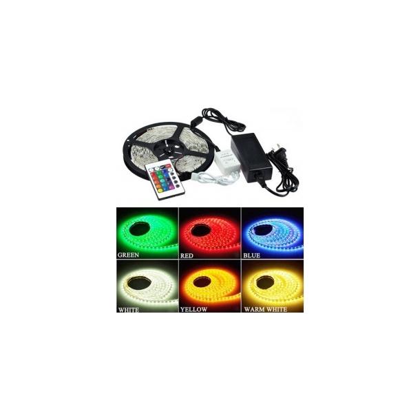 LED strip RGB 9,6w - Komplet sæt på 5 meter, stænktæt