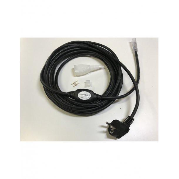 Stik til 230v led strip . m/4 METER sort ledning