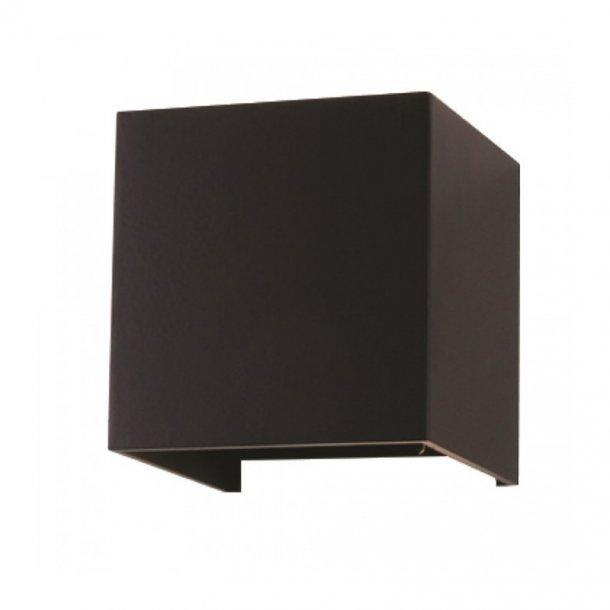 V Tac 6w sort væglampe firkantet, justerbar spredning