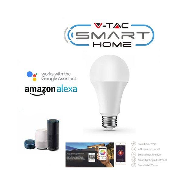 Alle nye V-TAC 9W E27 LED pære, god til Google Home, Alexa og smartphones TW44
